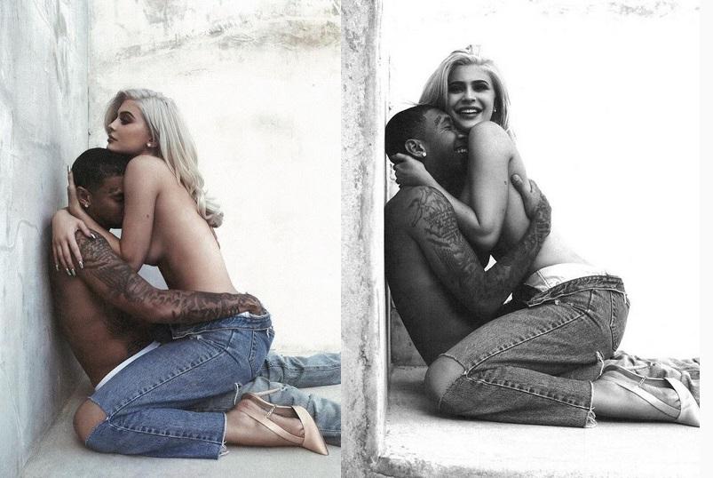 صورتان لكايلي جينر بوضع حميم جداً مع مغني الراب تايغا