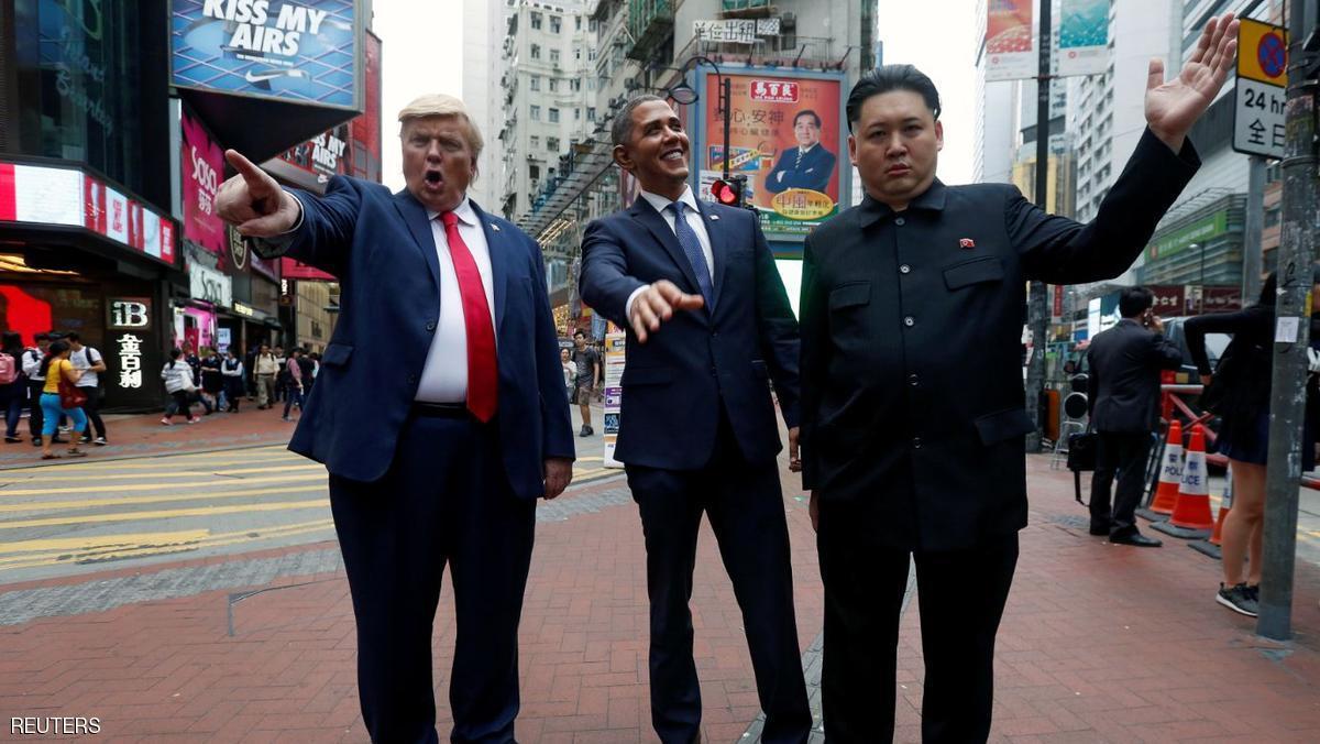 أشباه ترامب وأوباما وكيم في شوارع هونغ كونغ