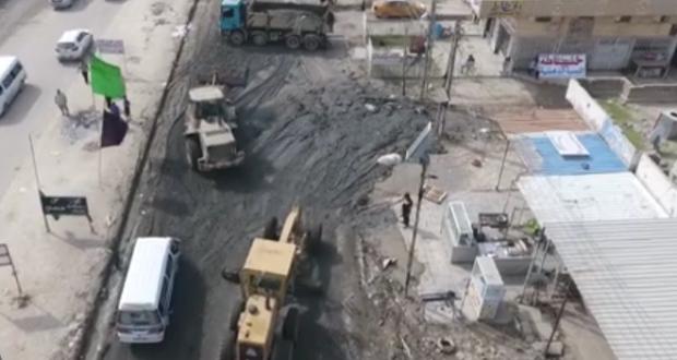 السلاح الهندسي للحشد الشعبي يباشر بحملة خدمية في الحسينية