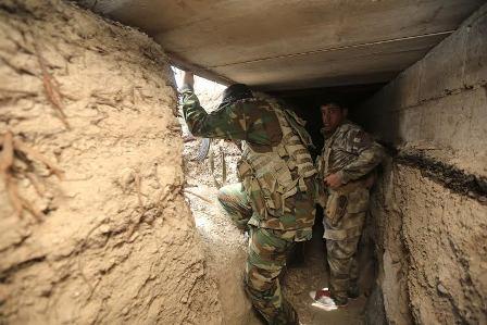 هندسة الحشد تعثر على قواعد صواريخ وانفاق لداعش بمنطقة الحراريات في بيجي