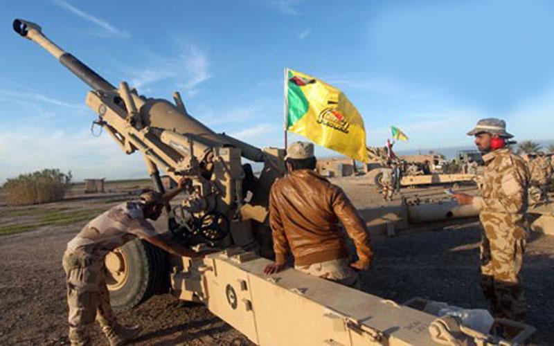 """مدفعية الحشد تدك تجمعات لـ""""داعش"""" على الحدود العراقية السورية"""