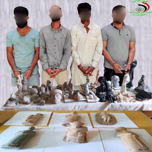ضبط 42 قطعة أثرية بحوزة 4 متهمين شمالي ذي قار 