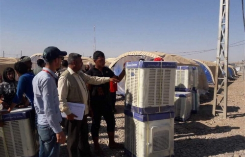 توزيع أكثر من 7500 مبردة هواء للنازحين في نينوى والسليمانية