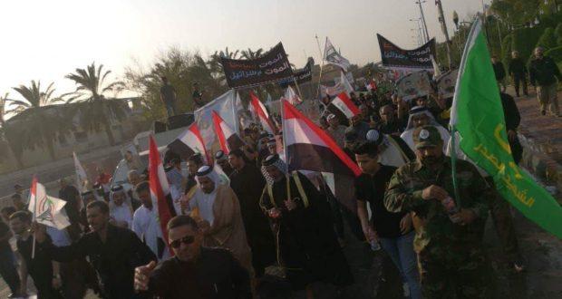 """جماهير البصرة تنظم مسيرة """"رد الجميل"""" دعما للحشد الشعبي"""
