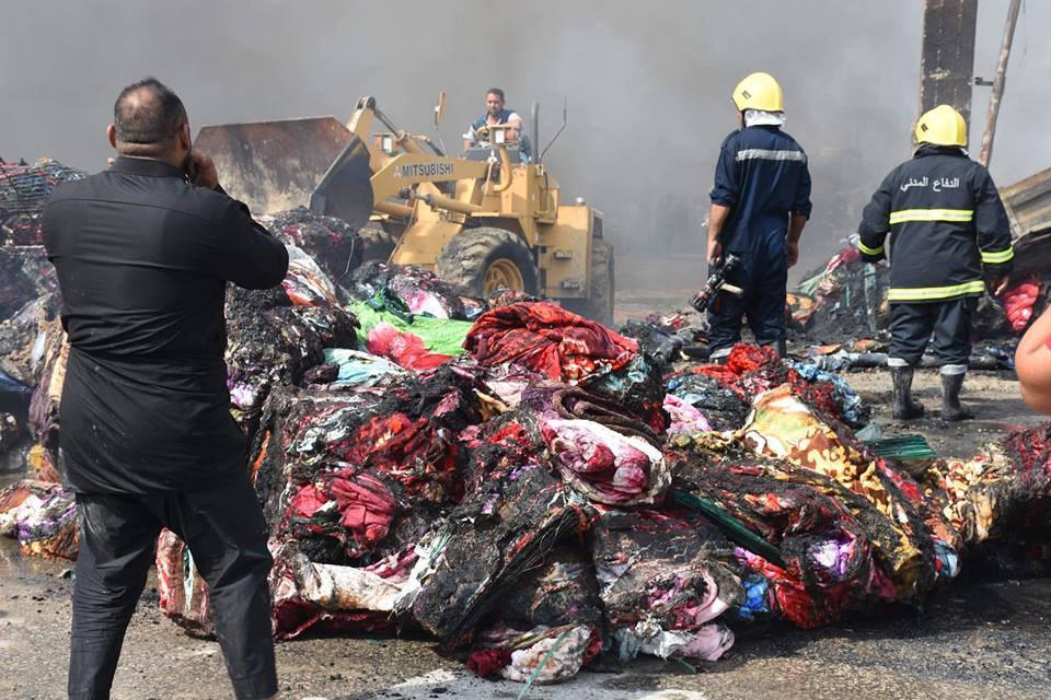 حريق معمل المفروشات شرقي كربلاء
