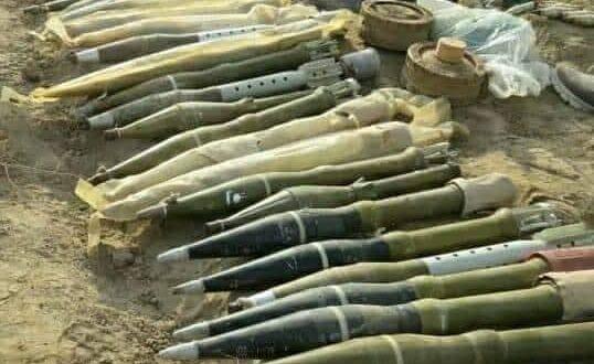 الحشد الشعبي يضبط مشاجب للسلاح والقذائف في سامراء