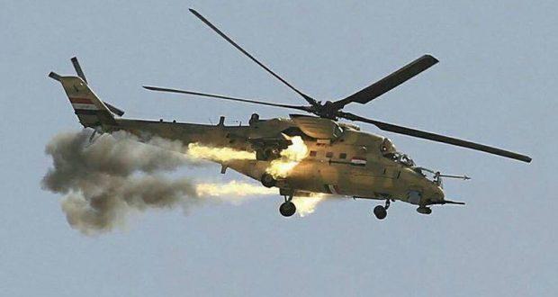 """خلال اسناده للحشد الشعبي طيران الجيش يدمر وكرين وثلاث عجلات لـ""""داعش"""" في الحويجة"""