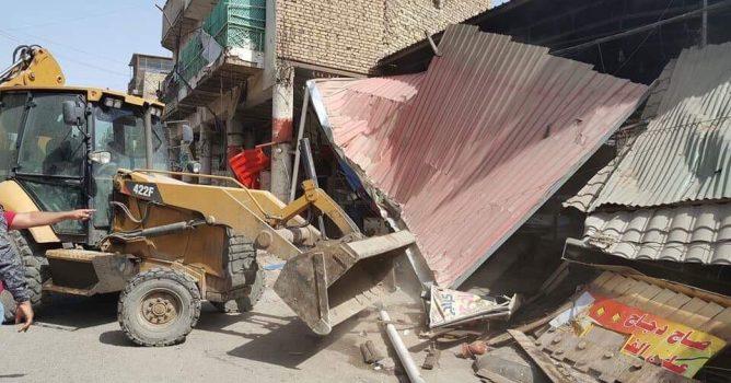 امانة بغداد تعلن ازالة عدد من التجاوزات في مدينة الصدر