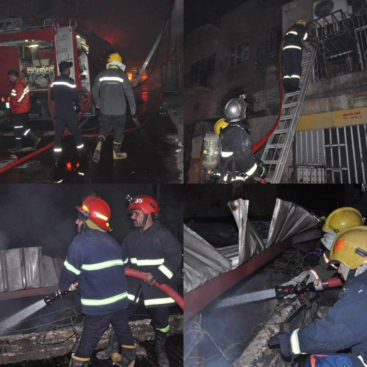 نشوب حريقين كبيرين في شارع المتنبي وأبو نؤاس