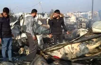 إندلاع حريق كبير بمخيم للنازحين في أربيل