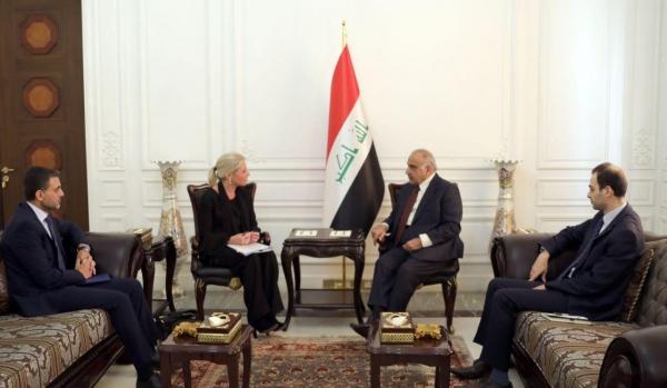 عبد المهدي يبحث مع مبعوثة الأمم المتحدة إزالة الالغام في الموصل