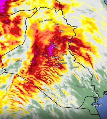 الأمطار المتوقعة في مدن العراق اليوم والجمعة.