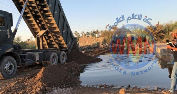 الهندسة العسكرية واللواء الرابع للحشد يواصلان تكتيف الأنهر والنواظم لدرء خطر الفيضانات في شط العرب