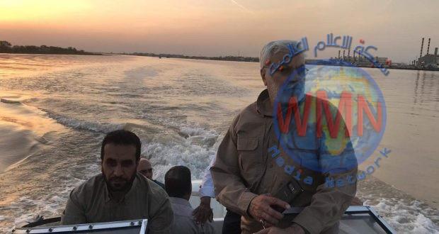 المهندس يوجه بفتح قناة لتصريف مياه هور الحويزة باتجاه شط العرب