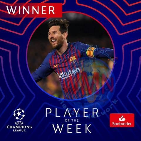 ميسي يفوز بجائزة لاعب الأسبوع في دوري الأبطال