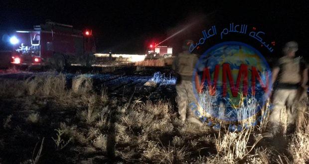 الحشد الشعبي ينقذ (250) دونما من المحاصيل الزراعية بإخماد حريق قام به داعش غربي الانبار