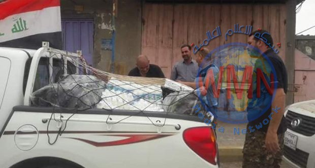 الدعم اللوجستي للحشد في الديوانية يسير قافلة محملة بالأغذية لقوات الحشد المرابطة في سامراء