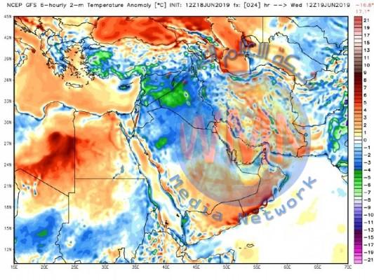 العراق يشهد انخفاضا ملحوظاً بدرجات الحرارة بدءاَ من اليوم