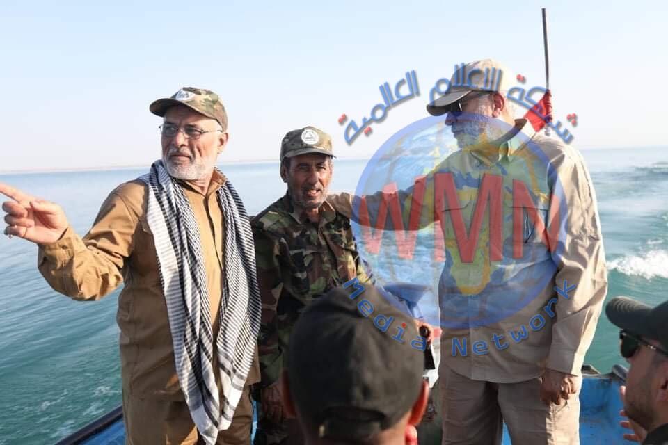 ابو مهدي المهندس يتفقد القوة النهرية للحشد الشعبي في الثرثار لمتابعة عمليات إرادة النصر شرق الأنبار