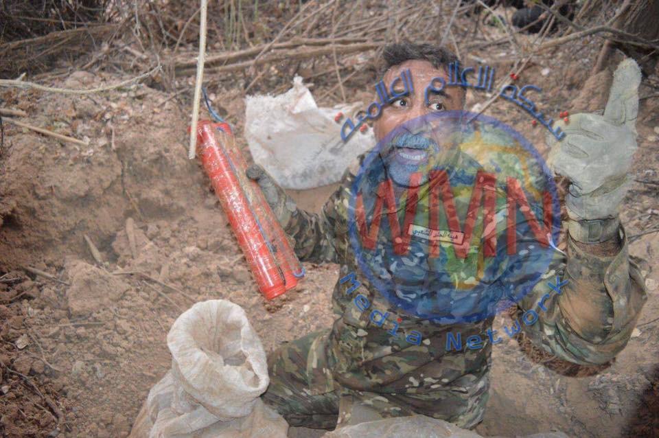 قوة من اللواء 23 بالحشد تعثر على مضافة لداعش تضم متفجرات واسلحة ومواد لوجستية في خانقين