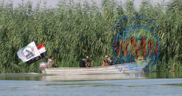 اللواء السابع في الحشد يواصل تفتيش ضفاف نهر الفرات في جرف النصر لتأمين عودة الزائرين من كربلاء