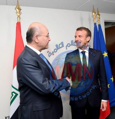 صالح يؤكد لماكرون رغبة العراق ببناء علاقات واسعة مع فرنسا
