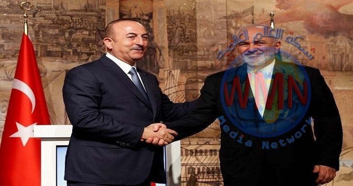 ظريف يبحث مع نظيره التركي أخر التطورات في شمال سوريا