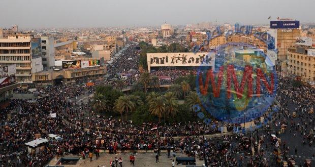 متظاهرو التحرير يشكرون المرجعية والحشد الشعبي والقوات الأمنية في ذكرى النصر