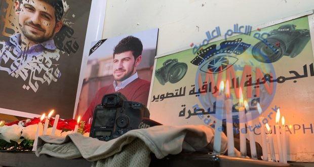 الجمعية العراقية للتصوير تنظم وقفة حداد لروح المصور الشهيد أحمد مهنا في البصرة
