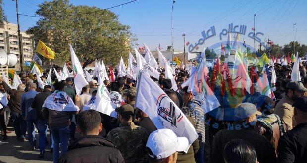 انطلاق تشييع مهيب لشهداء الحشد الشعبي بحضور رسمي وشعبي كبيرين