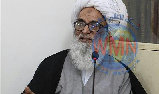 المرجع الديني الشيخ بشير حسين النجفي يؤم صلاة الجنازة على جثامين شهداء الحشد الشعبي