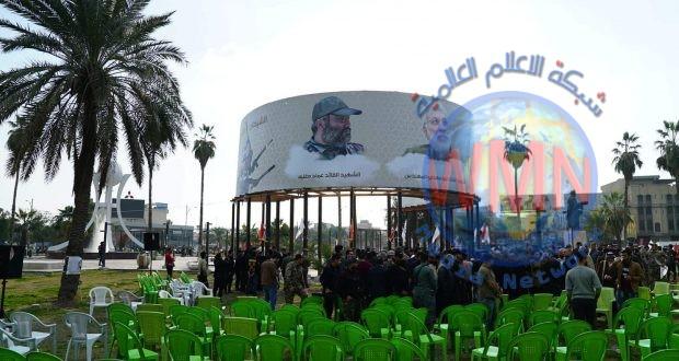 بالصور.. افتتاح أكبر صورة للقادة الشهداء وسط بغداد