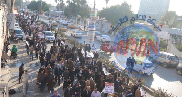 مسيرات الوفاء في ميسان تجدد التنديد بجريمة اغتيال الشهداء القادة