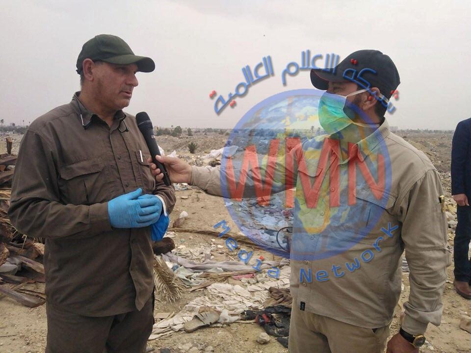 الكوفي: النفايات في معسكر الرشيد تقدر بأربعة ملايين طن والحشد يعمل على رفعها قبل نهاية السنة الحالية