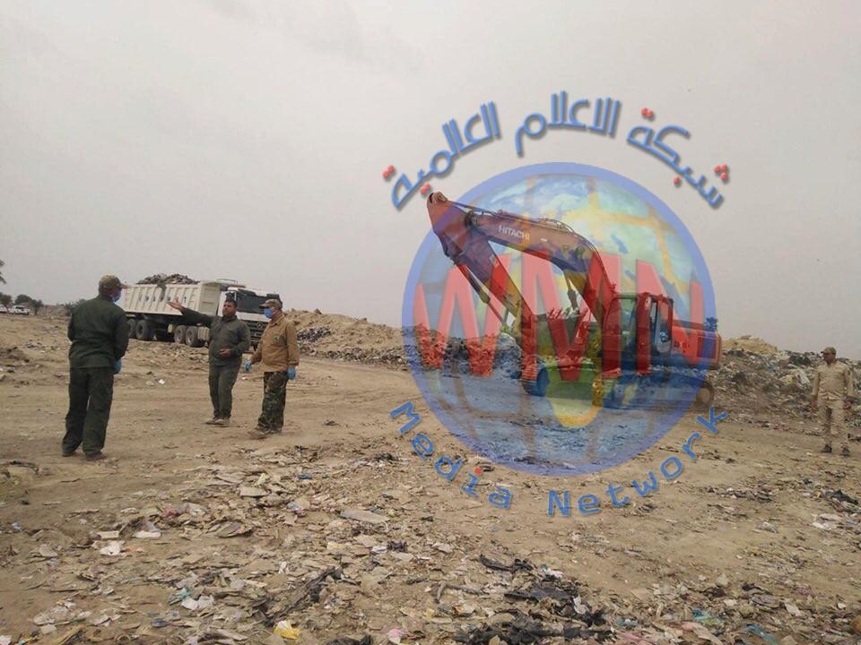 الهندسة العسكرية للحشد الشعبي تستجيب لطلب المواطنين برفع النفايات من معسكر الرشيد ضمن حملة وعي