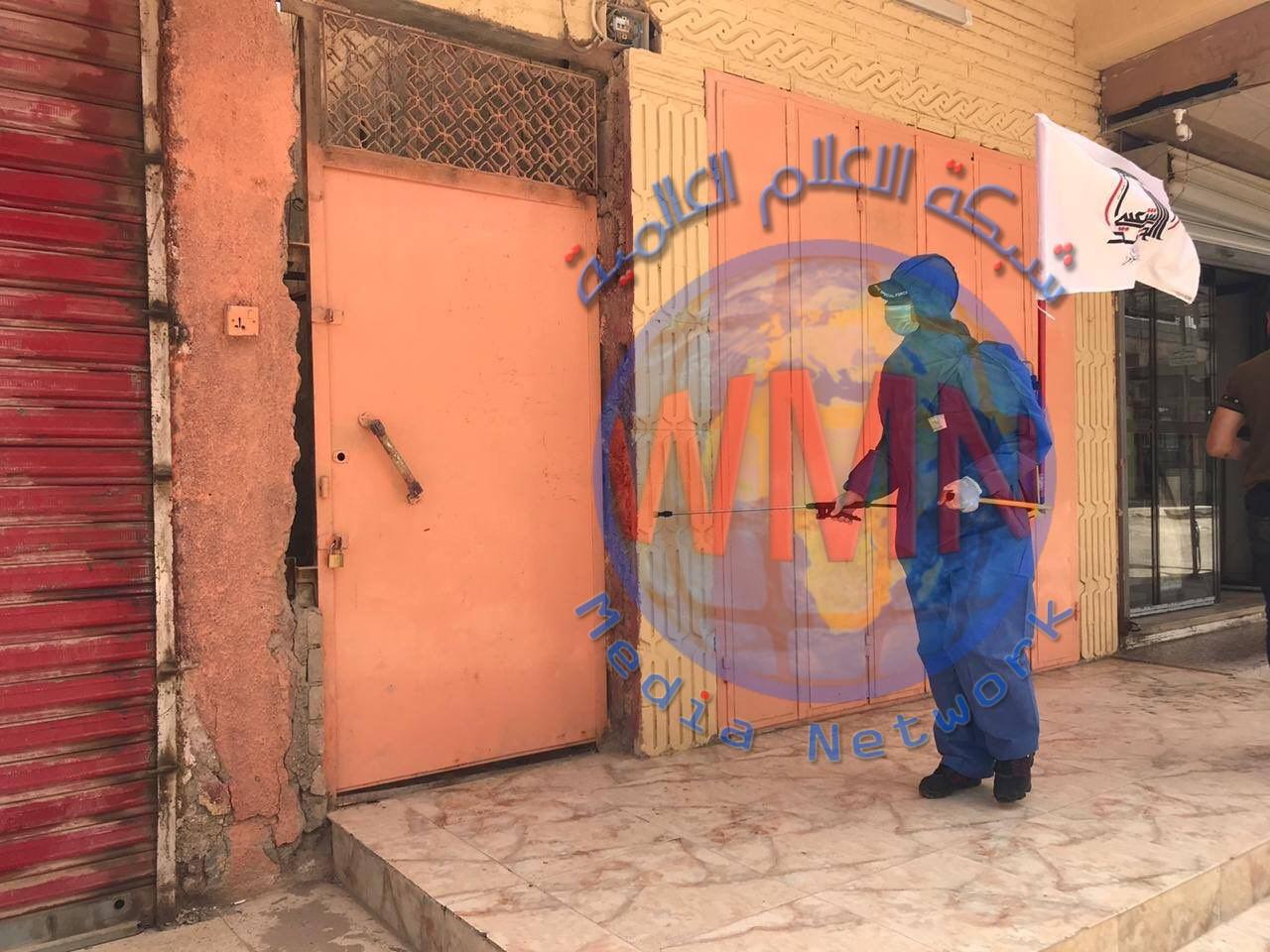 قيادة عمليات الأنبار للحشد تقوم بحملة تعفير وتعقيم كافة الأحياء في قضاء القائم