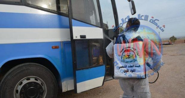 """ضمن """"كبح الجائحة"""".. هيئة الحشد الشعبي تنفذ حملة تعفير وتوعية في أبو دشير ببغداد"""