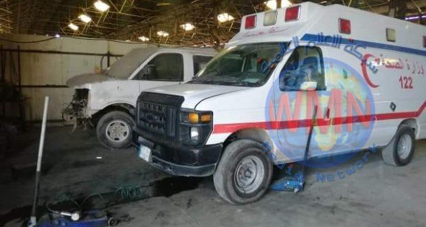 معاونية الدعم اللوجستي تباشر بصيانة عجلات الإسعاف لوزارة الصحة