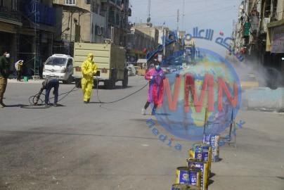 طبابة الحشد تعفر منطقة الفضل وباب الشيخ وشارعي الهادي والجمهوري وسط بغداد (صور)