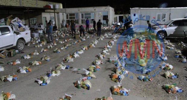 الحشد والمتطوعون يوزعون 780 سلة غذائية لمستحقيها خلال 24 ساعة في الديوانية