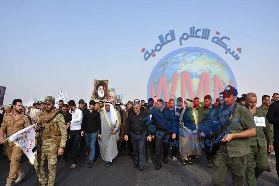 انطلاق مسيرة موكب أبناء قادة النصر في ديالى لتجديد الولاء لسيد الشهداء وأخيه العباس