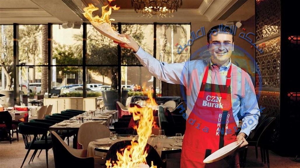 لحظة سقوط الشيف بوراك بإناء كبير أمام مطعمه في دبي