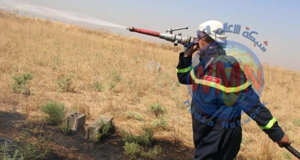 الحشد ينقذ أراضِ زراعية من الاحتراق قبل وصول النيران اليها في كركوك