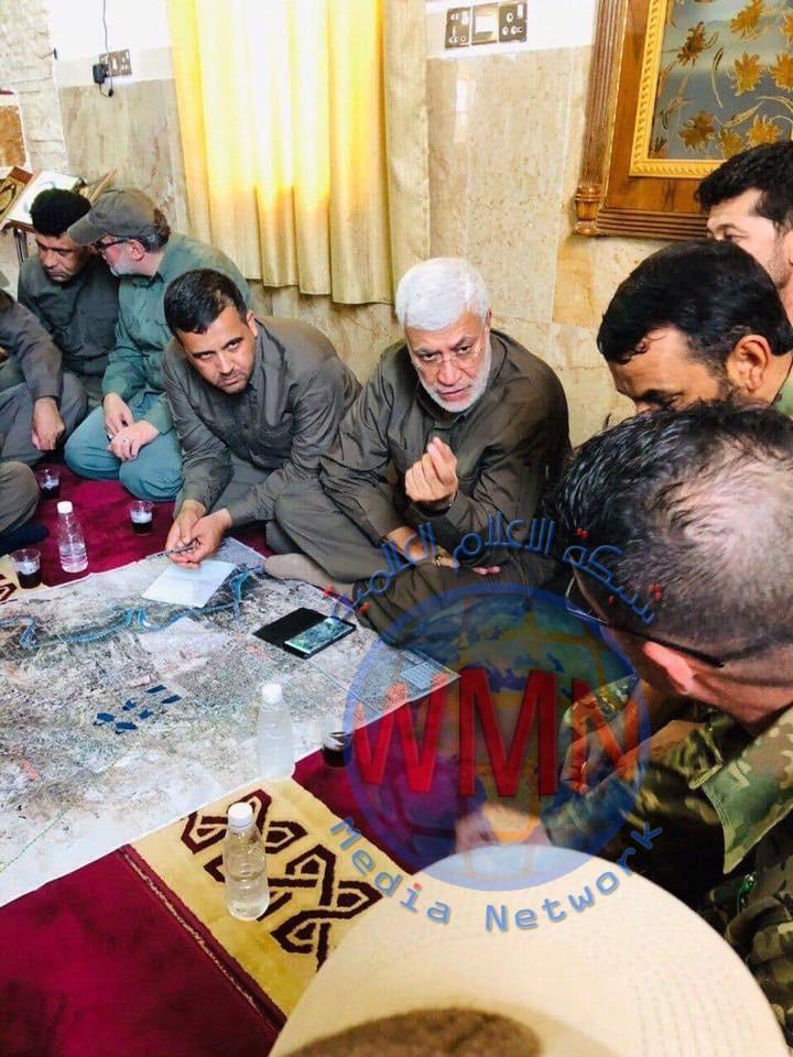 الحاج ابومهدي المهندس يزور المقر الميداني للواء الثاني عشر للاطلاع علئ سير عمليات ارادة النصر