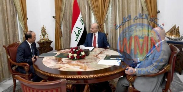 برهم صالح يتلقى دعوة من نظيره الباكستاني لزيارة اسلام أباد