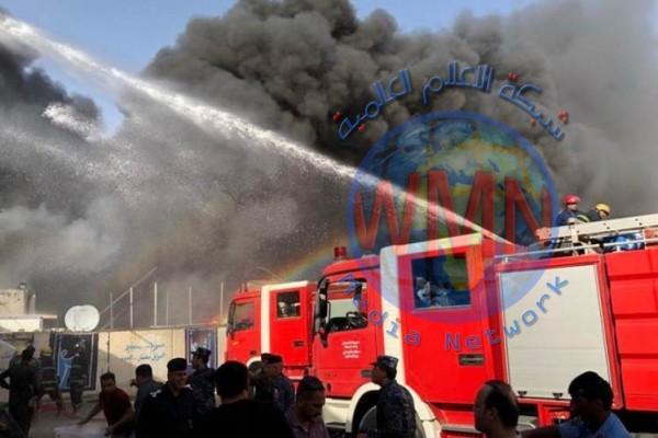 حريق كبير قرب البنك المركزي وسط بغداد