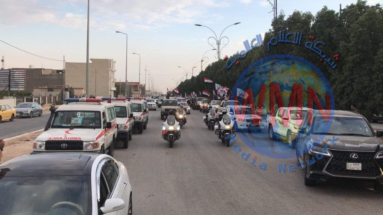 بدء التشييع الشعبي للشهداء القادة في مدينة كربلاء المقدسة