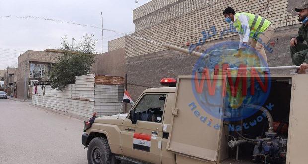 """هيئة الحشد الشعبي تنفذ حملة تعفير في"""" العبيدي والكمالية والفضيلية والضباط"""" ببغداد"""