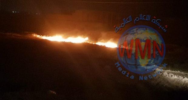 قوة من الحشد الشعبي تخمد حريقا اندلع نتيجة سقوط اسلاك الكهرباء في ناحية البغدادي