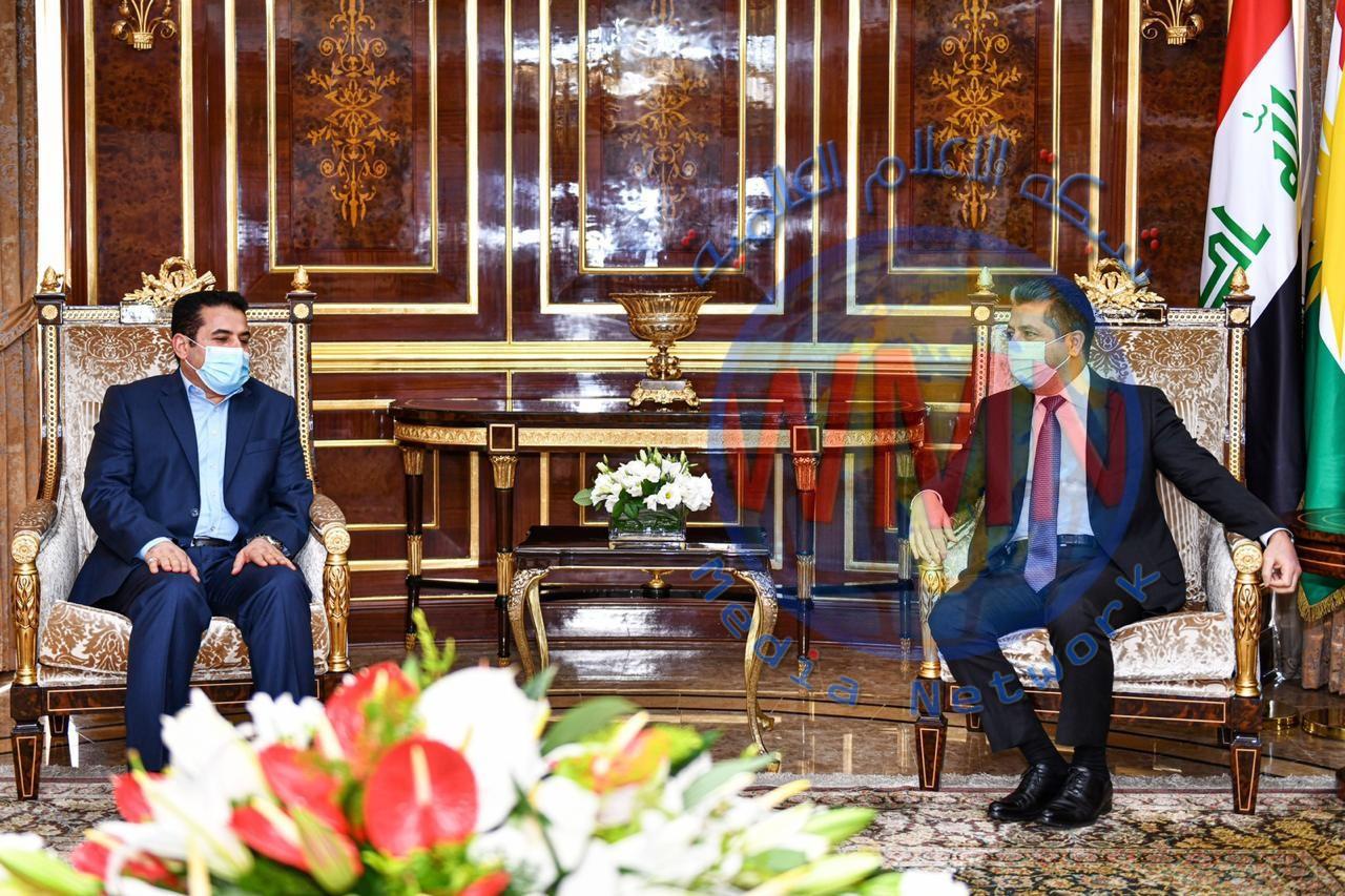 رئيس حكومة إقليم كوردستان يستقبل مستشار الأمن الوطني العراقي